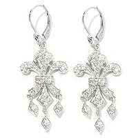 CHAMP SS ROUND CUT FLEUR DE LIS DANGLE EARRINGS