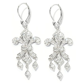 128-368 - Champenois® 1.59 DEW Round Cut Fleur-de-lis Simulated Diamond Dangle Earrings