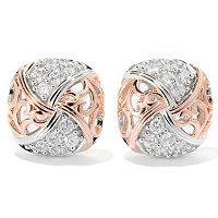 CHAMP SS/CHOICE PAVE AND POLISHED SWIRL STUD EARRINGS