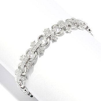 128-370 - Champenois® for Brilliante® Round Cut Cross & Circle Link Bracelet