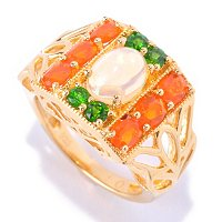SS/18KV RING ETHIOPIAN OPAL w/ FIRE OPAL & CHROME