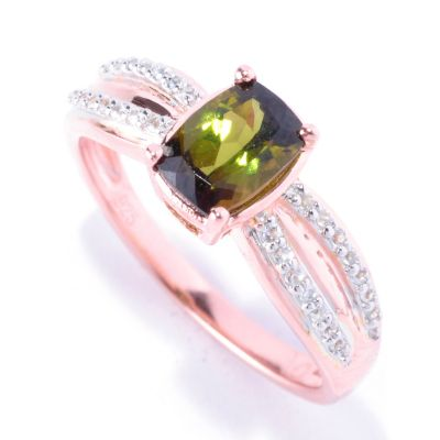 128-378 - NYC II Cushion Cut Green Tourmaline & White Zircon Ring