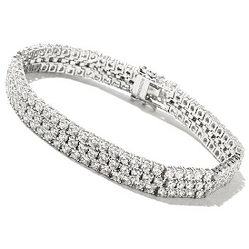 128-380 - Charlie Lapson for Brilliante® Platinum Embraced™ Round Cut Three-Row Bracelet
