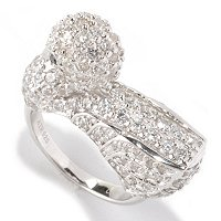 NB SS/PLAT WHITE PAVE SWAN RING