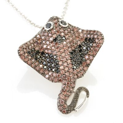128-382 - Neda Behnam for Brilliante® Platinum Embraced™ 3.34 DEW Stingray Pin / Pendant w/ Chain