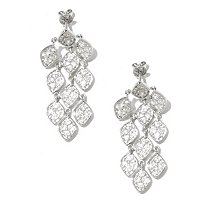 SS/P EAR PAVE GEM WHITE ZIRCON CHANDELIER