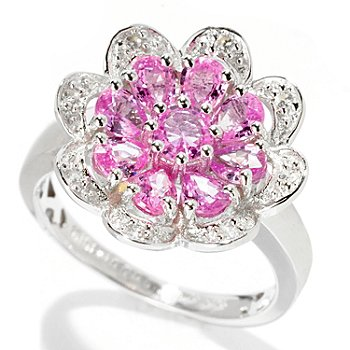 128-390 - Gem Treasures Sterling Silver 1.80ctw Pink Sapphire & White Zircon Flower Ring