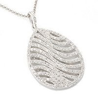 "SB SS/PLAT ROUND CUT TEARDROP SHAPE WAVE PENDANT w. 18"" CHAIN"