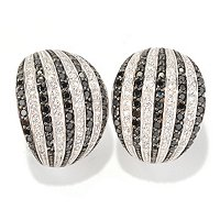 SB SS/PLAT ROUND CUT BLACK AND WHITE STRIPE EARRINGS WITH OMEGA BACKS