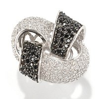SB SS/PLAT BLACK AND WHITE PAVE INTERTWINED KNOT RING