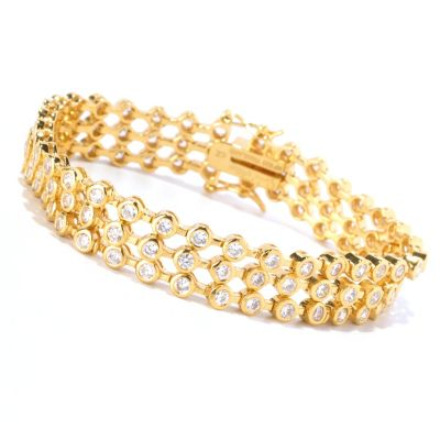 128-398 - Sonia Bitton for Brilliante® Round Cut Bezel Three-Row Line Bracelet