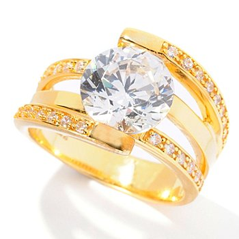 128-400 - Brilliante® 3.05 DEW Round Cut Simulated Diamond Wrap-Around Ring