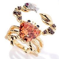 NB SS/18K YGP SIMULATED CITRINE TRILLION CUT CRAB RING