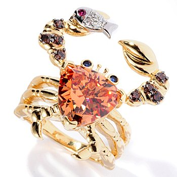 128-408 - Neda Behnam for Brilliante® 3.94 DEW Trillion Cut Multi Color Crab Ring