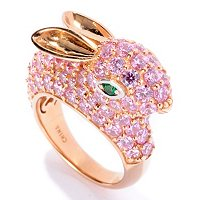 NB SS/18K RGP PINK BUNNY RING WITH GREEN EYES