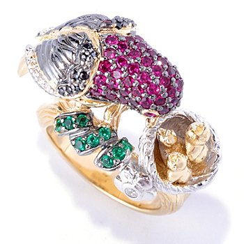 128-410 - Neda Behnam for Brilliante® Tri-color 1.43 DEW Pave Round Cut Bird & Nest Ring