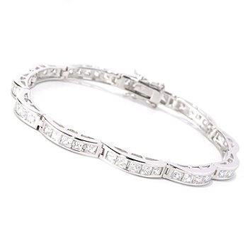 128-422 - Brilliante® Platinum Embraced™ Princess Cut Scalloped Shape Line Bracelet