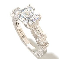BRIL SS/PLAT ASSCHER, BAGUETTE AND ROUND CUT RING