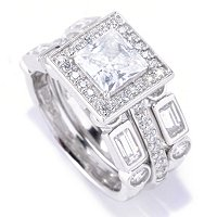 BRIL SS/PLAT PRINCESS CUT HALO RING W/ BAGUETTE & ROUND BANDS