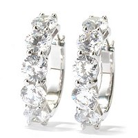 BRIL SS/CHOICE ROUND CUT SHARED PRING HUGGIE HOOP EARRINGS