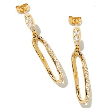 128-431 - Brilliante® 1.5'' 1.05 DEW Round Cut Simulated Diamond Figure-Eight Drop Earrings