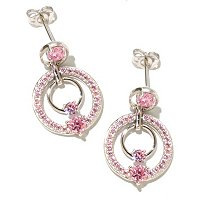 BRIL SS/PLAT ROUND CUT PINK DOUBLE CIRCLE DROP EARRINGS