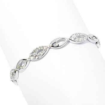 128-435 - Brilliante® Platinum Embraced™ Round Simulated Diamond Marquise Line Bracelet