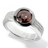BLTA SS/PLAT SIMULATED CHOCOLATE DIAMOND ROUND CUT BEZEL SET & PAVE RING