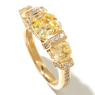 128-438 - Brilliante® Gold Embraced™ 3.64 DEW Asscher Simulated Diamond Side Gallery Ring