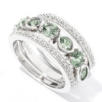 BLTA SS/PLAT GREEN SIMULATED DIAMOND OVAL & ROUND RING SET