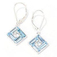 BLTA SS/PLAT ROUND & BAGUETTE SQUARE SHAPED SIMULATED BLUE DIAMOND DROP EARRINGS