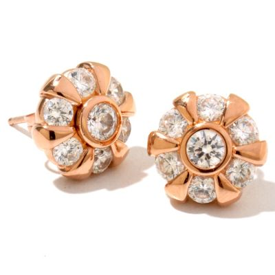 128-446 - Sonia Bitton for Brilliante® 2.18 DEW Round Cut Flower Stud Earrings