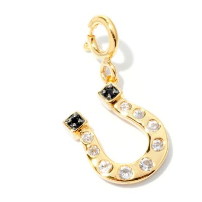 128-454 - NYC II White Zircon & Black Spinel Horseshoe Drop Charm