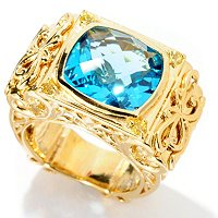 SS/YV SWISS BLUE TOPAZ CUSHION STONE RING W/ RUBY ACCENTS