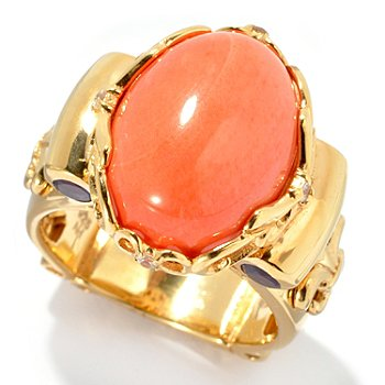 128-459 - Dallas Prince Designs 15.5 x 12mm Coral, Amethyst & Sapphire Ring