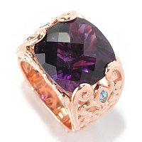 SS/RV AFRICAN AMETHYST CUSHION CUT RING W/ SWISS BLUE TOPAZ