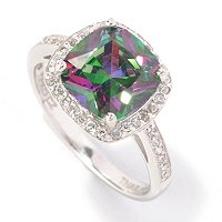 BLTA SS/PLAT SIMULATED MYSTIC TOPAZ CUSHION CUT HALO RING