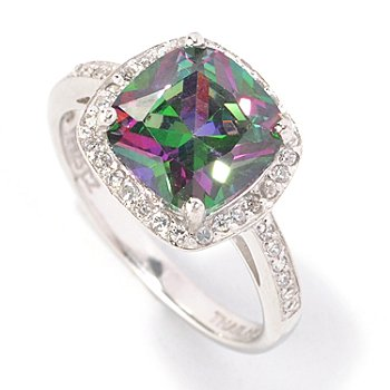 128-462 - Brilliante® Platinum Embraced™ 3.85 DEW Simulated Mystic Topaz Halo Ring