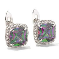 BLTA SS/PLAT SIMULATED MYSTIC TOPAZ CUSHION CUT HALO EARRINGS