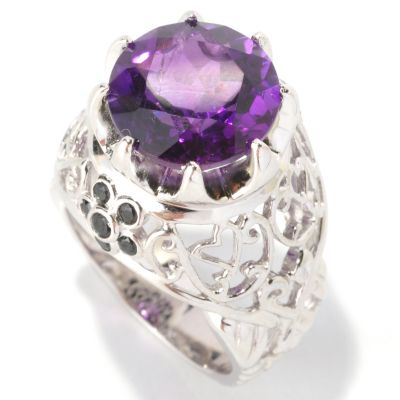 128-472 - Gem Insider Sterling Silver 6.05ctw Amethyst & Black Spinel Raised Ring