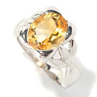 SS CITRINE CUSHION REC SHAPE RING