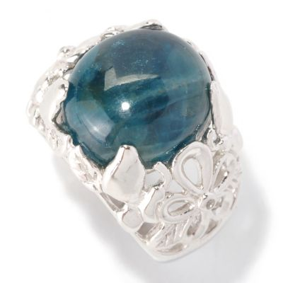 128-474 - Gem Insider Sterling Silver 14 x 12mm Oval Blue Apatite & White Topaz Ring