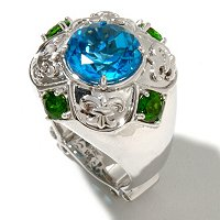 SS SWISS BLUE TOPAZ & CHROME DIOPSIDE RING