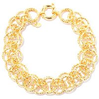 SS/18KGP BRAC DIAMOND-CUT LAYERED CIRCLE LINK