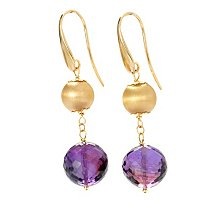 18K TWO-TONE DANGLE EARRINGS W/AMETHYST