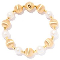 18K SATIN BEAD AND PEARL BRACELET