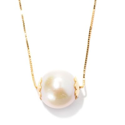 128-497 - Viale18K® Italian Gold 9.5-10mm Cultured Freshwater Pearl Necklace