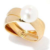 18K SATIN AND POLISHED CROSS BAND W/BUTTON PEARL RING