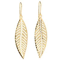 18K D/C LEAF DANGLE EARRINGS