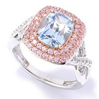 D2R SS/TWO-TONE BLUE AND PINK ELONGATED CUSHION CUT DOUBLE HALO RING
